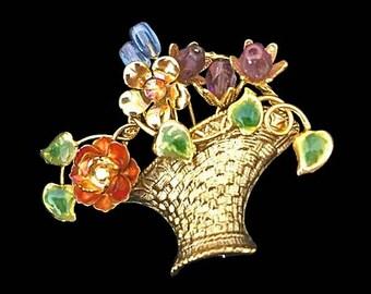 Vintage Basket Brooch Trembler Trembla Semi Precious Stones Enamel Rhinestones Gold Tone Basket Springtime Beauty Retro Pin Jewelry