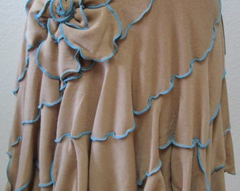 Light brown color skirt with rose decoration and ruffled edging throughout plus made in USA (v11)