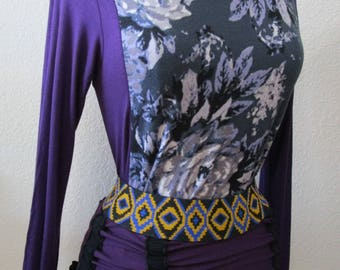 light gray floral pattern print tunic top with purple color long sleeves top made  by San Francisco local designer(vn47)