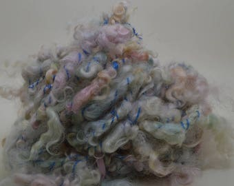 Hand Spun Art Yarn with Leicester Longwool - Blue/Green/Pink/Apricot/White