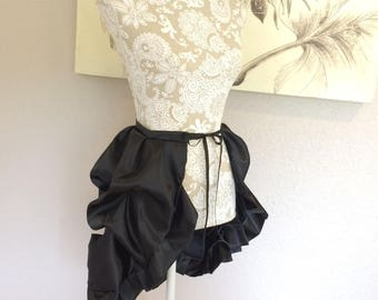 Black Satin Tie On Bustle Skirt