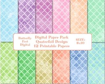 Digital Texture Paper, 8 x 10 Printable Paper, Quatrefoil Designs, Instant Download