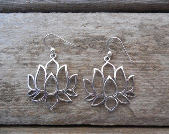 Lotus flower earrings handmade in sterling silver 925