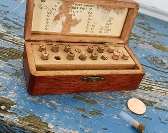 Vintage Watchmaker Wood Box Vintage Watch Box Tiny Numbered Glass Bottles Cork Stopper