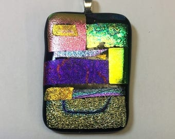 Patchwork Smile Fused Dichroic Glass Pendant with Necklace