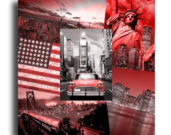 Tableau toile collage photos new york usa rouge noir design moderne Bois Rouge
