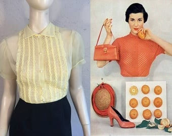 Fresh Citrus Mornings - Vintage 1950s Lemon Nylon Sheer Braided Blouse Top - Small