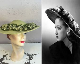 An August Moment of Green - Vintage 1950s Chartreuse Green Floral Straw Wide Brim Hat