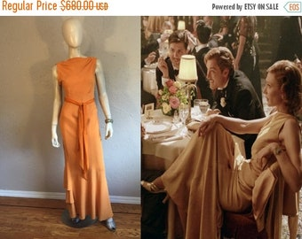 Anniversary Sale 35% Off Kate Hepburn Debates - Vintage 1930s Pumpkin Silk Crepe Dress w/Ruffle Back Skirt Detail - 2/4
