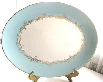 Vintage Homer Laughlin Lifetime China Co. Aqua Blue and Gold Oval Platter Serving Plate from AllieEtCie