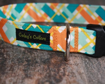"Dog Collar ""The Hello Plaid in Orangee"" Multi Colored Plaid Dog Collar"