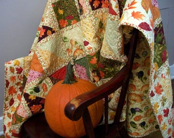 Fall Leaves Quilt Twin Size Lap Throw Quilted Quiltsy Handmade  FREE U.S. Shipping One of a Kind