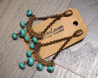 Turquoise and Antique Copper Chandelier Earrings