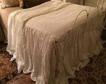 Extra Long Gathered  Washed Linen Bedspread-Linen Coverlet-Linen Bedspread-Fitted Washed Linen Bedspread-Made to Order Washed Linen Bedding
