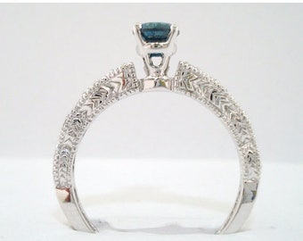 10% ON SALE Blue & White Diamond Engagement Ring 0.59 Carat 14K White Gold Vintage Style Engraved Handmade Certified