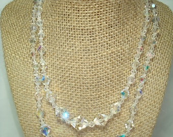 1957 Dual Stranded Necklace  of Sparkling Crystal Beads.