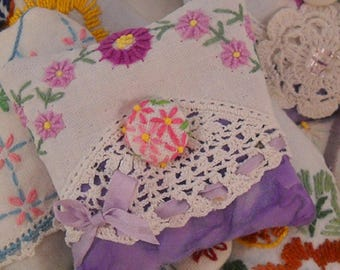 Lovely Lavender Sachet Vintage Lace and Embroidery Shabby Cottage Chic