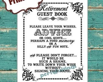 INSTANT DOWNLOAD- 8 x 10 Retirement Guest Book---Printable PDF File