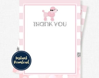 Dog Thank You Cards, Poodle Thank You, Puppy Party Printable INSTANT DOWNLOAD