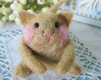 Needle felted wool cat yellow hand made wool toy collectible fiber art sculpture miniature