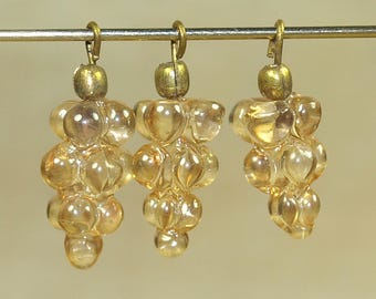 Bag of 25 Vintage Champagne Glass Grape Clusters with Brass Wire; Made in India in the 1970s. VGL446