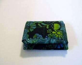 Green and Black Floral Batik Tri Fold Wallet