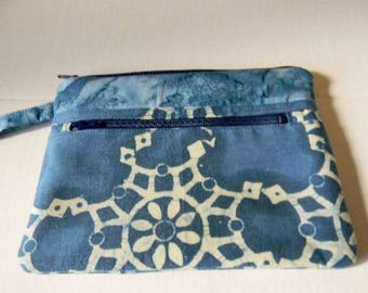 Indigo Blue and White Batik Wristlet with Detachable Handle