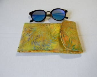 Yellow Floral Batik Sunglasses Case