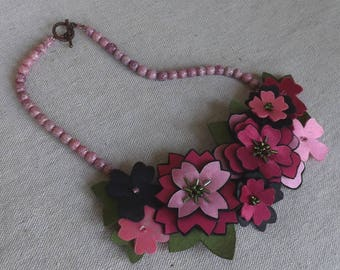 Folk Flower Necklace in Shades of Hot Pink Satin