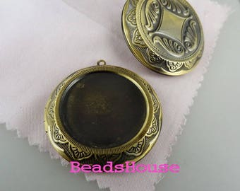2pcs - (30mm Setting) Big Round Vintage Antique Brass Photo Locket Pendant - Nickel Free