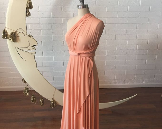 Lost Coast Peach TULIP HEM CUT Long Octopus Convertible Wrap Gown- Converts to Strapless, Backless, Grecian!