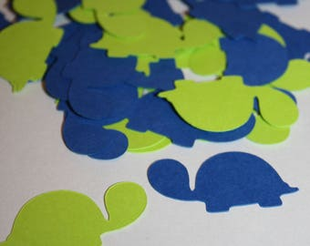 200 pieces Turtle Confetti Birthday or Baby Shower - Green + Blue