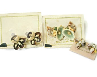 Vintage Jewelry  /  Natural Shell Earrings  /  Island Jewelry  /  Seashell Earrings  /  Hawaiian Shell Jewelry  /  Costume Jewlery