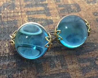 Vintage Blue Gem Clip Earrings