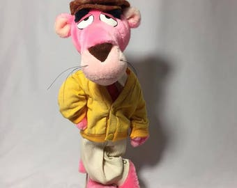 Vintage Pink Panther Mighty Star Plush Stuffed Cat With Stand