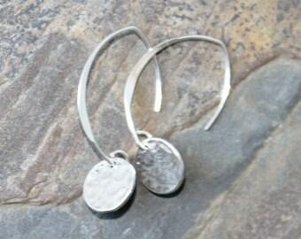 Sterling Silver Earrings, Hammered Silver Earrings, Sterling Jewelry, Geometric Earrings, Dangly Earrings, Round Earrings, Circle Earrings