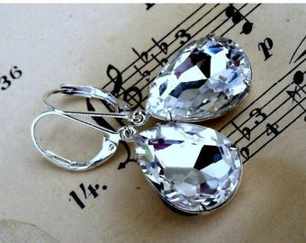 MOVING SALE On Sale White Hot Ice, Estate Style Vintage Crystal Pear Shaped Jewel Earrings
