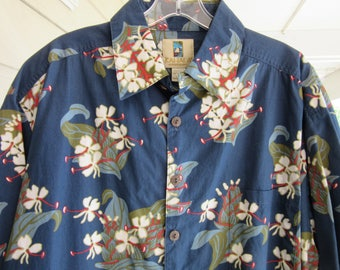 Vintage Blue Hawaiian Shirt 100% Cotton