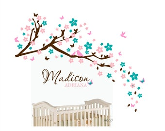 cherry blossom wall decal wall sticker branch birds and butterflies wall decal nursery wall decor name gift for baby