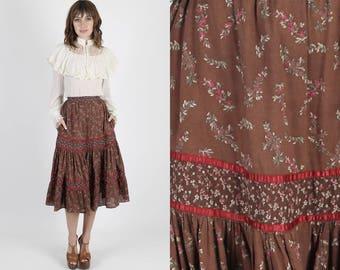 Gunne Sax Skirt Gunne Sax Mini Prairie Skirt Hippie Skirt Boho Skirt 70s Skirt Vintage Skirt Bohemian Floral Brown Boho Mini XS