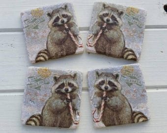 Happy Holidays Raccoon Stone Coaster Set of 4 Tea Coffee Beer Coasters
