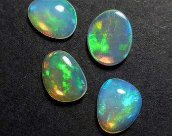 VIDEO: Jewellers Pack - 4 x Solid crystal Ethiopian Opal Free Form Cabochons - 8 - 8.4mm - Natural - Opal  - Supplies - RT49