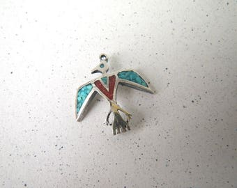 Crushed Coral & Turquoise Bird Charm or Single Earring Part - Sterling Silver Zuni Style