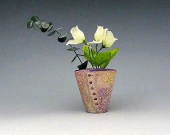Textured Mauve Bud Vase - Hand Made -  Makeup Brush Holder - Pencil Pen Holder