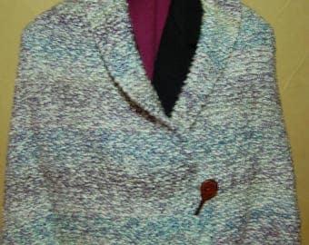 Cozy hand-knit pastel ruana shawl