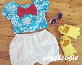 Donald Duck Inspired Everyday Dress Up Damask PlaySet, Two Piece Crop Top and bloomers...Made to Order, size 6m-6