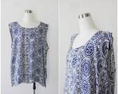 Plus Size Tunic, Sleeveless Boho Top, Rayon Tank, Ethnic Blouse XXL Blue White Summer Blouse