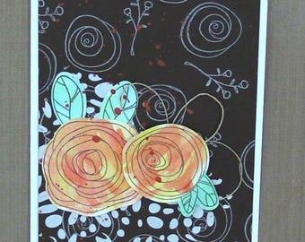 Flower Swirls Autumn Mixed Media card--CB82317-111
