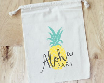 ALOHA PINEAPPLE Baby Shower -   Personalized Favor Bags - Set of 10 - Baby Shower Favors - tropical