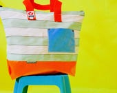 Made in UK Wyatt and Jack Upcycled Pastel Green  White Stripy Vintage Deckchair Canvas Beach Bag Shopper Tote